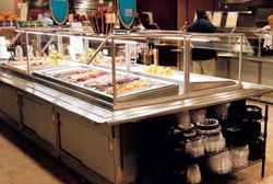 Cafeteria food serving equipment for commercial kitchens